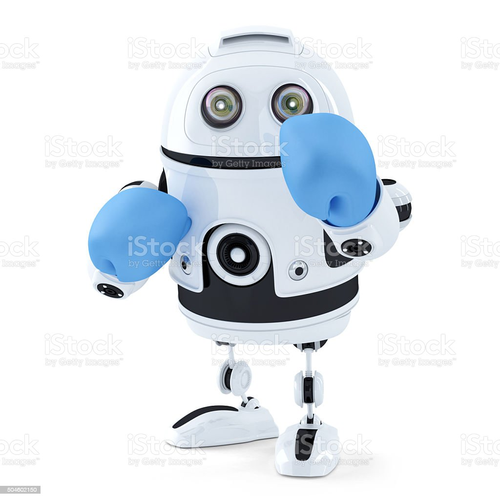 3d Robot in boxing gloves. Isolated. Contains clipping path stock photo