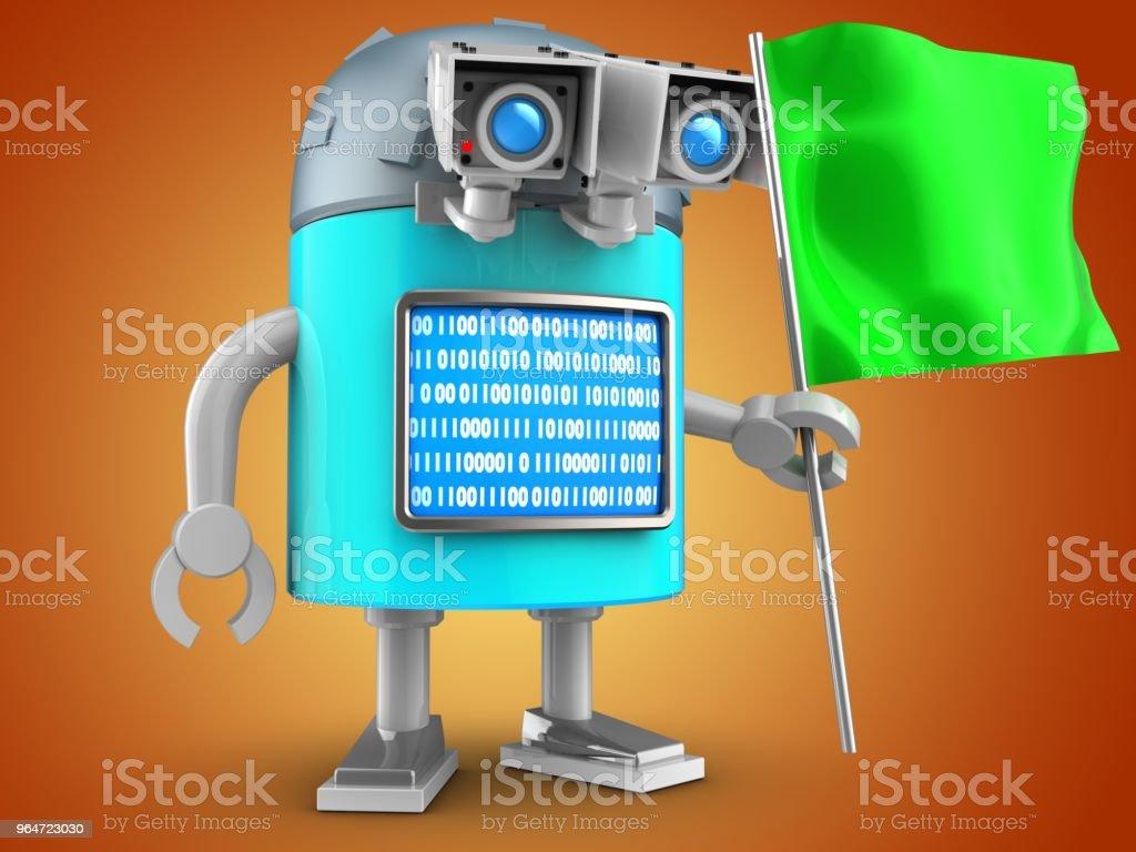 3d robot over orange royalty-free stock photo