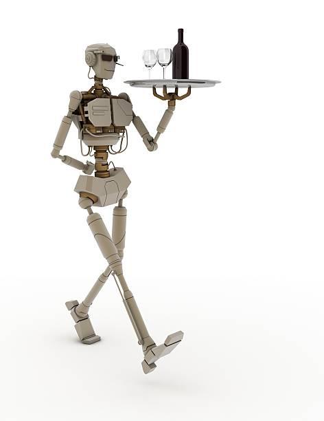 3d robot serving a drink stock photo