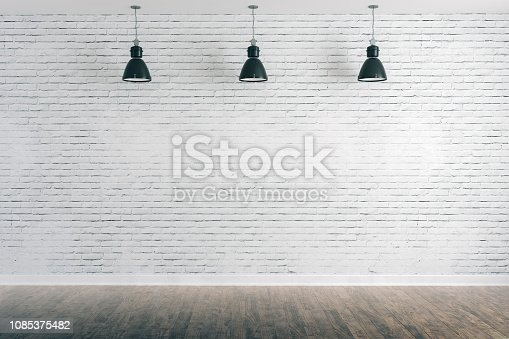 istock 3d room with white brick wall and ceiling lamp 1085375482