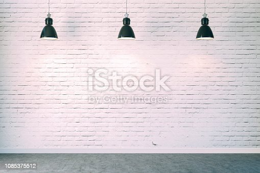 istock 3d room with white brick wall and ceiling lamp 1085375512