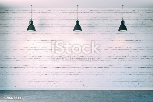 istock 3d room with white brick wall and ceiling lamp 1085375514