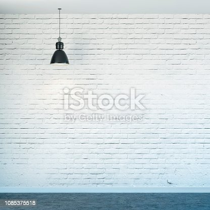 istock 3d room with white brick wall and ceiling lamp 1085375518