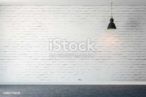 istock 3d room with white brick wall and ceiling lamp 1085375528