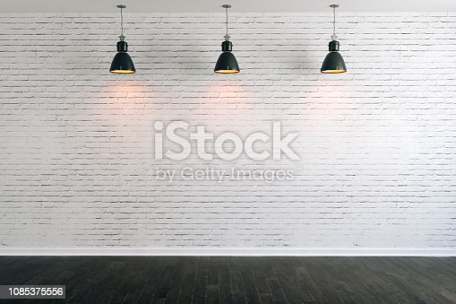 istock 3d room with white brick wall and ceiling lamp 1085375556
