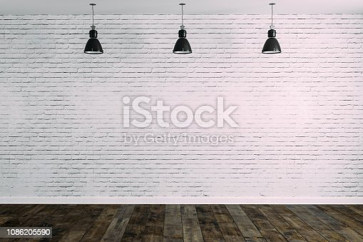 istock 3d room with white brick wall and ceiling lamp 1086205590