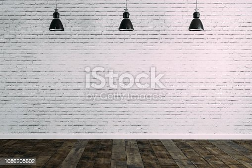 istock 3d room with white brick wall and ceiling lamp 1086205602