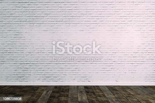 istock 3d room with white brick wall and ceiling lamp 1086205608