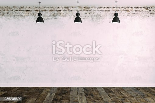 istock 3d room with white brick wall and ceiling lamp 1086205620