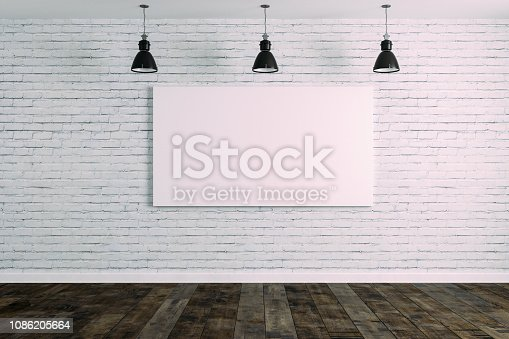 istock 3d room with white brick wall and ceiling lamp 1086205664