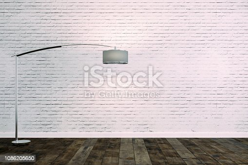 istock 3d room with white brick wall and floor lamp 1086205650