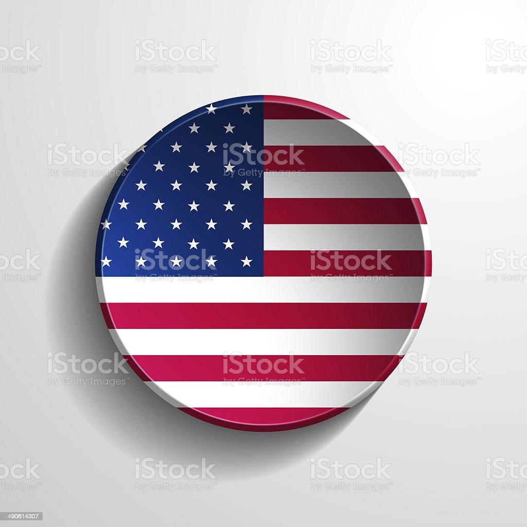 USA 3d Round Button stock photo