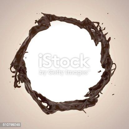 istock 3d round liquid chocolate splashing frame border 510799245