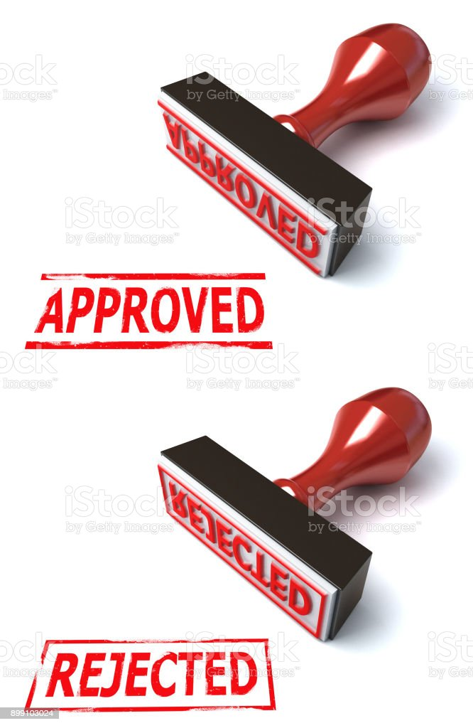 3d rubber stamp approved rejected isolated illustration stock photo