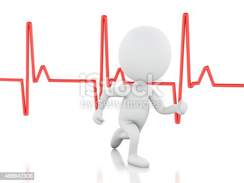 istock 3d running people with heartbeat. Medical concept 469942306