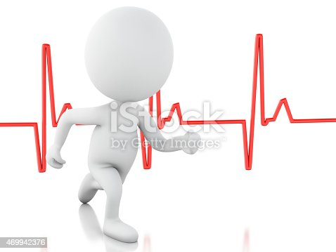 istock 3d running people with heartbeat. Medical concept 469942376