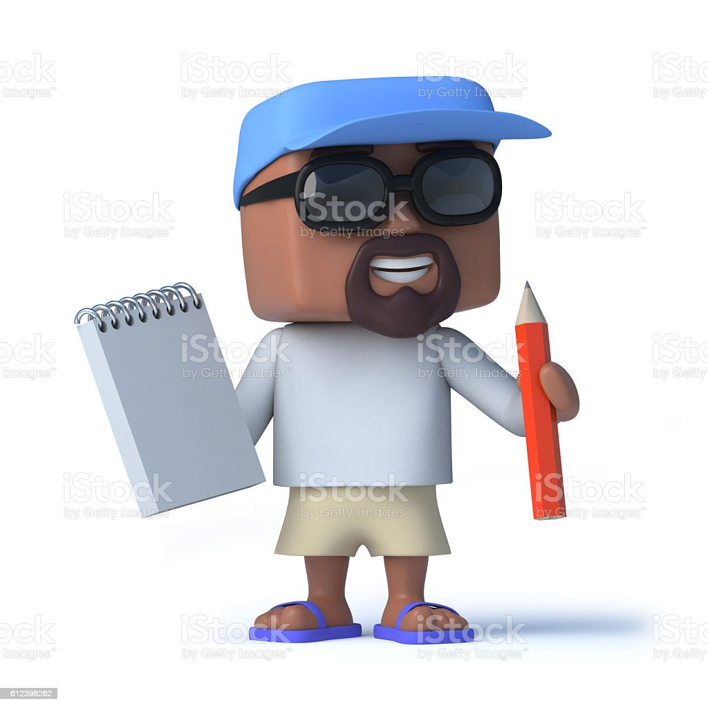 3d Sailor dude takes notes with his notepad and pencil stock photo