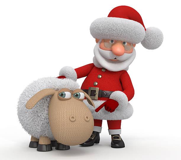 3d Santa Claus with a lamb stock photo