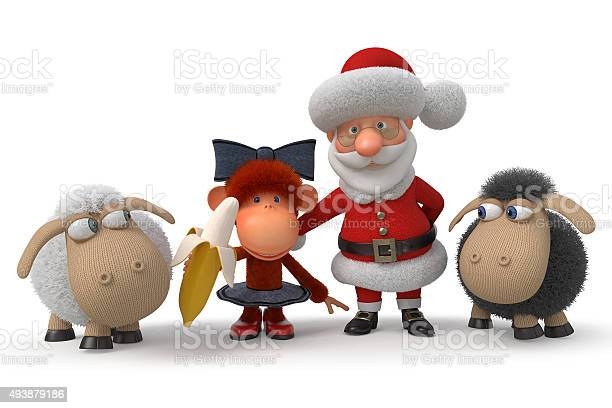 3d santa claus with the monkey and lambs picture id493879186?b=1&k=6&m=493879186&s=612x612&h=uwpqrolnbkf62c9n2yunuglhw9q4ldutzuxkmbvjr m=