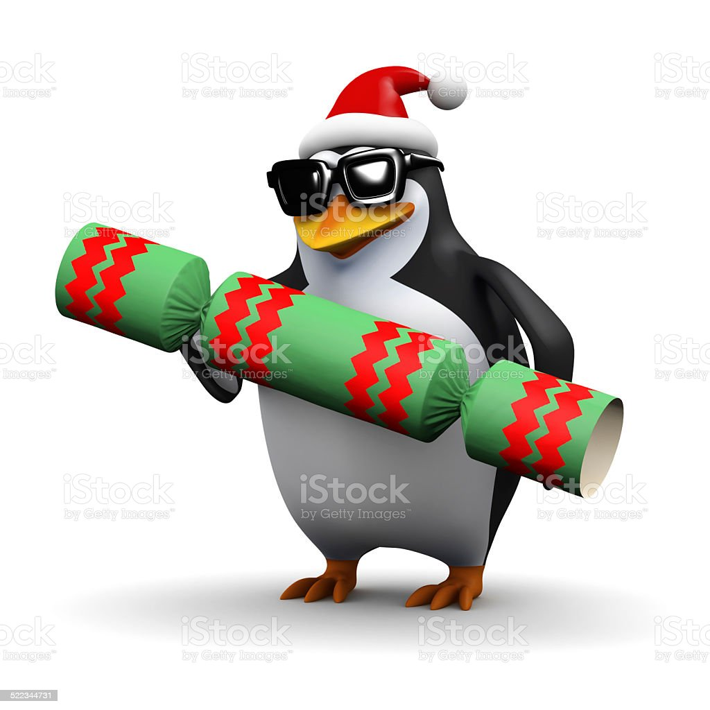 3d Santa penguin with Christmas cracker stock photo