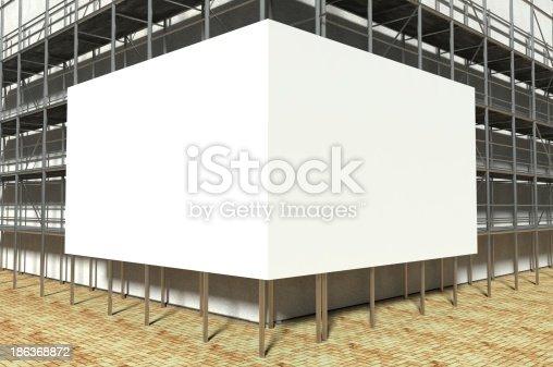 istock 3d scaffolding and blank advertising billboard 186368872