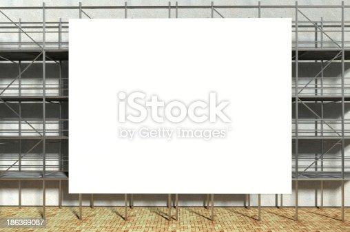 istock 3d scaffolding and blank advertising billboard 186369087