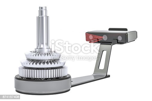 istock 3d scanner scanning of object, 3D rendering isolated on white background 874157408
