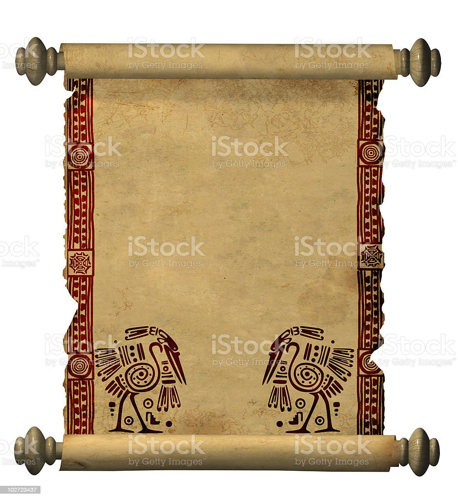 3d scroll of old parchment royalty-free stock photo