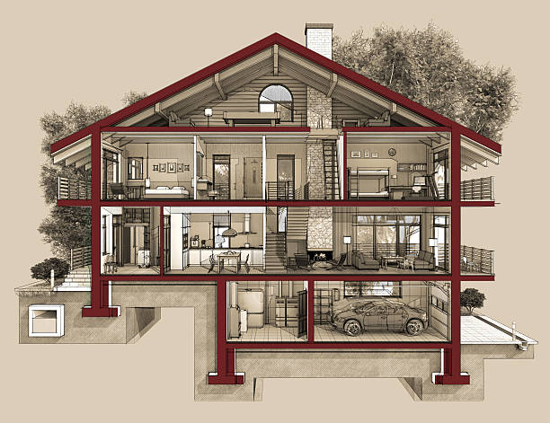 3d section of a country house - cross section stock pictures, royalty-free photos & images