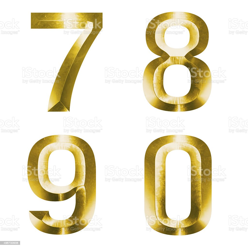 3d set of gold alphabet 7, 8, 9, 10 stock photo