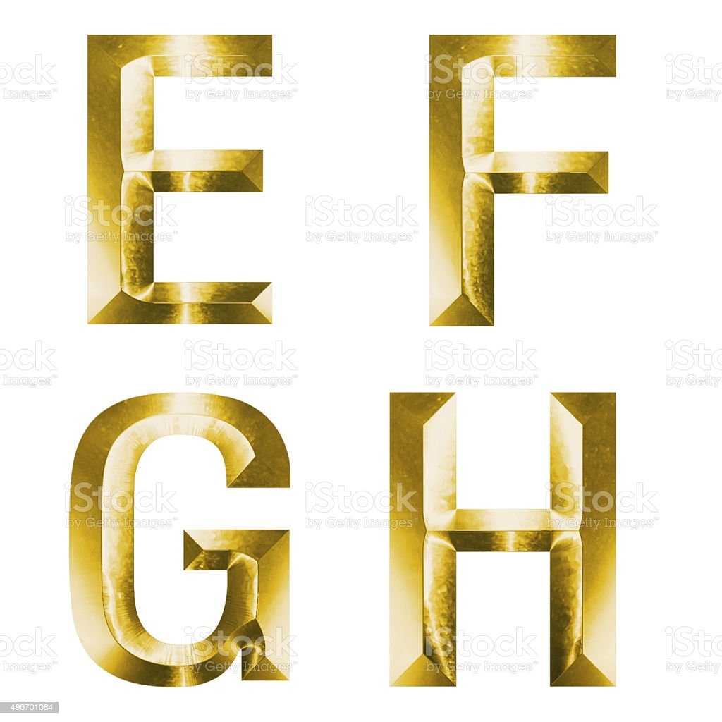3d set of gold alphabet E, F, G, H stock photo