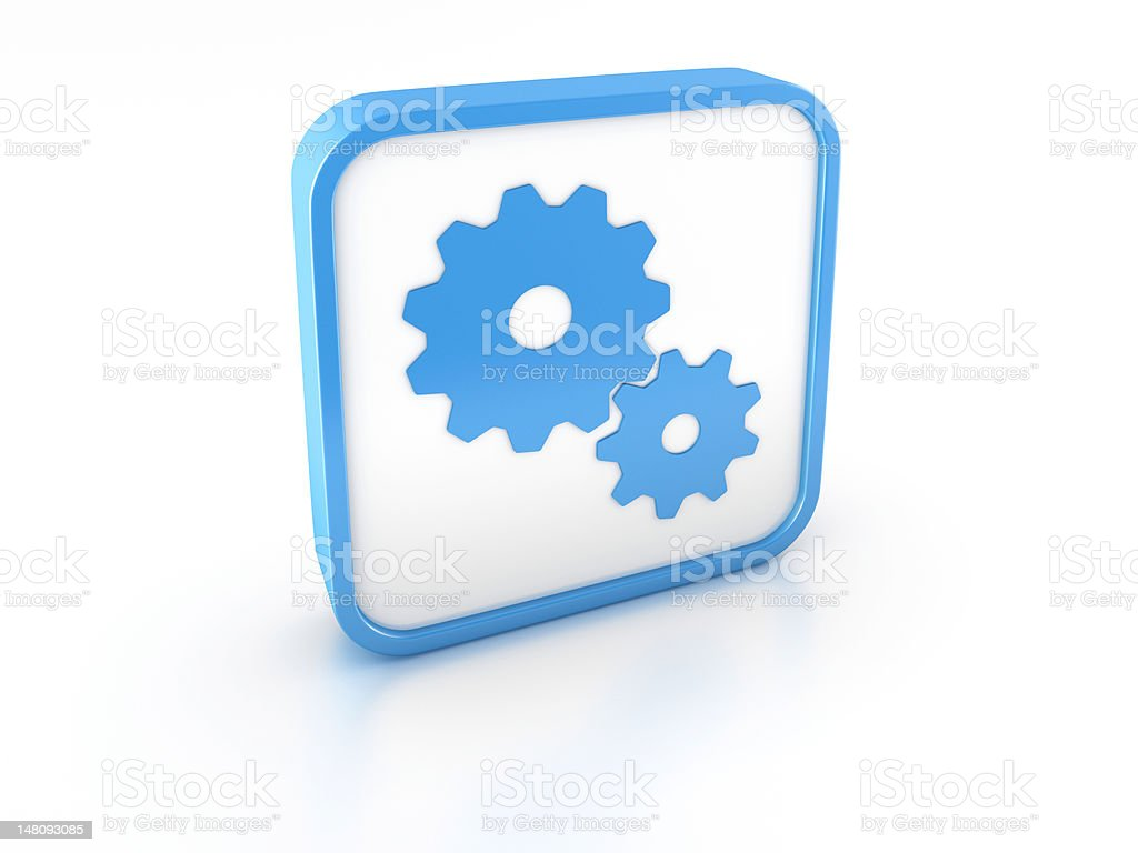 3d shape gears icon royalty-free stock photo