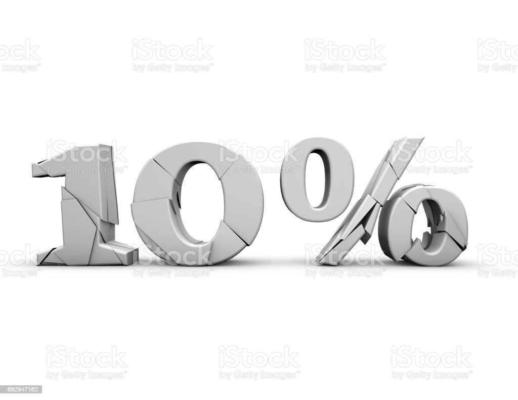 10% 3d shattered number, isolated on white. royalty-free stock photo