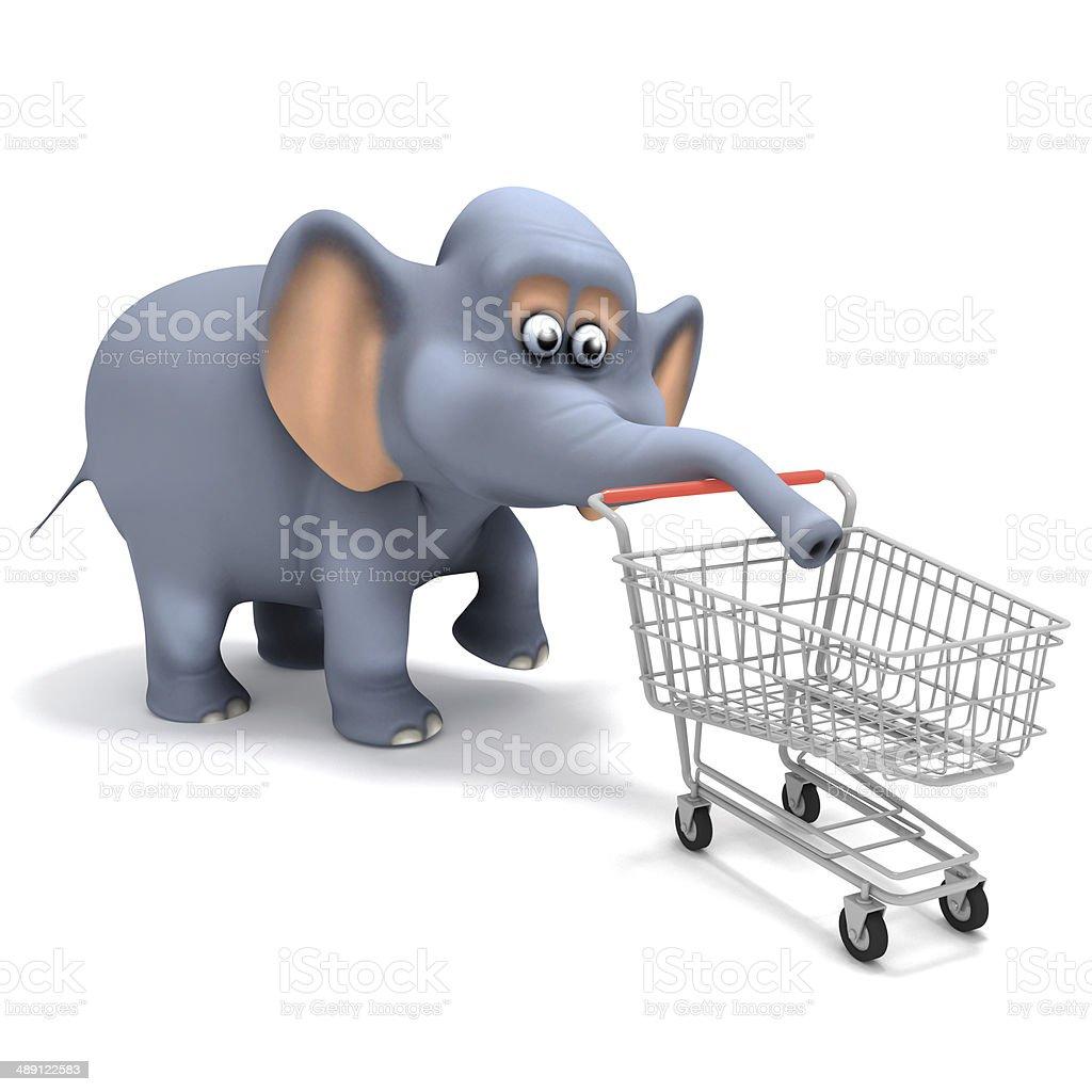 3d Shopper elephant stock photo