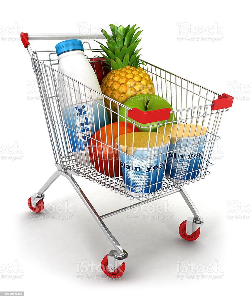 3d shopping cart royalty-free stock photo