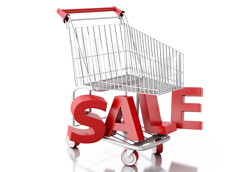 3d renderer illustration. Shopping cart. Sale concept. Isolated white background