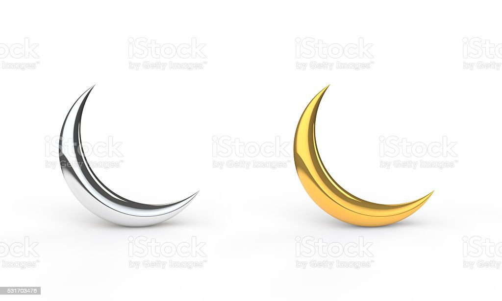 3d silver and gold crescents stock photo