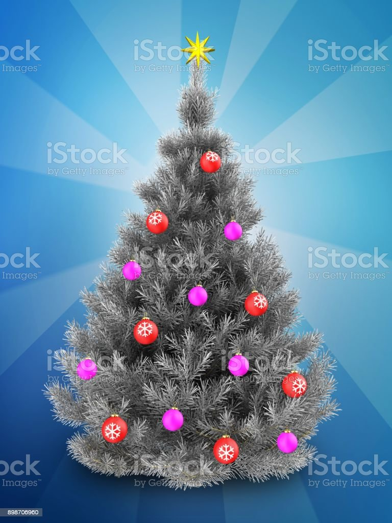 3d Silver Christmas Tree Over Blue Stock Photo Download Image Now Istock