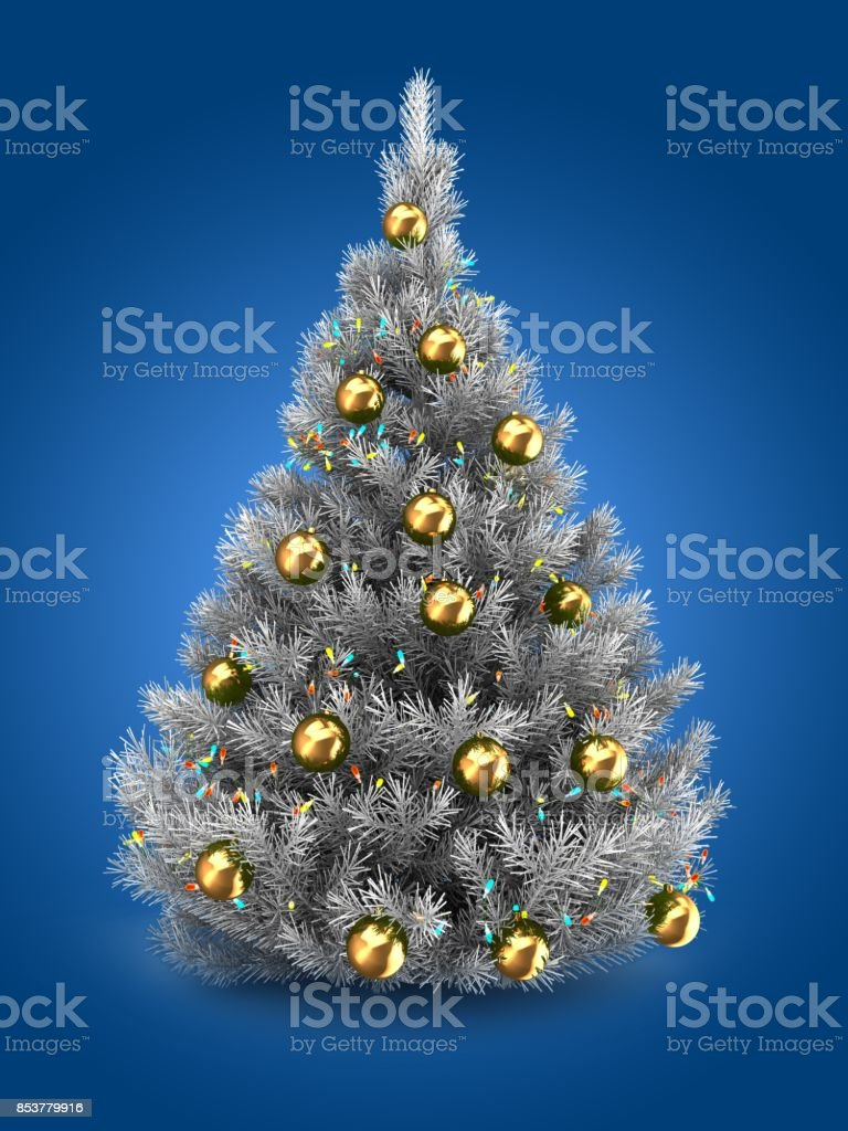 3d Silver Christmas Tree Stock Photo More Pictures Of Ball Istock