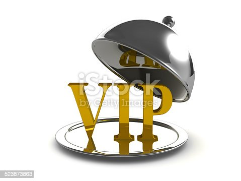istock 3d Silver tray with VIP main course 523873863