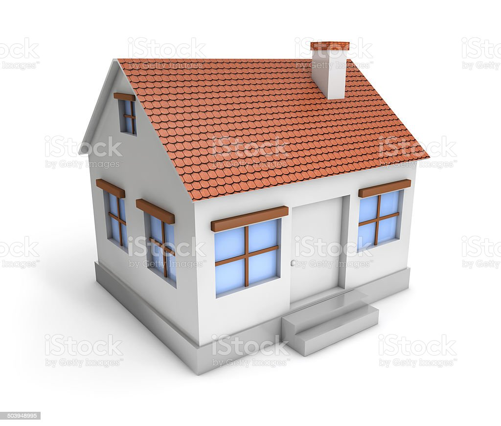 3d simple house stock photo