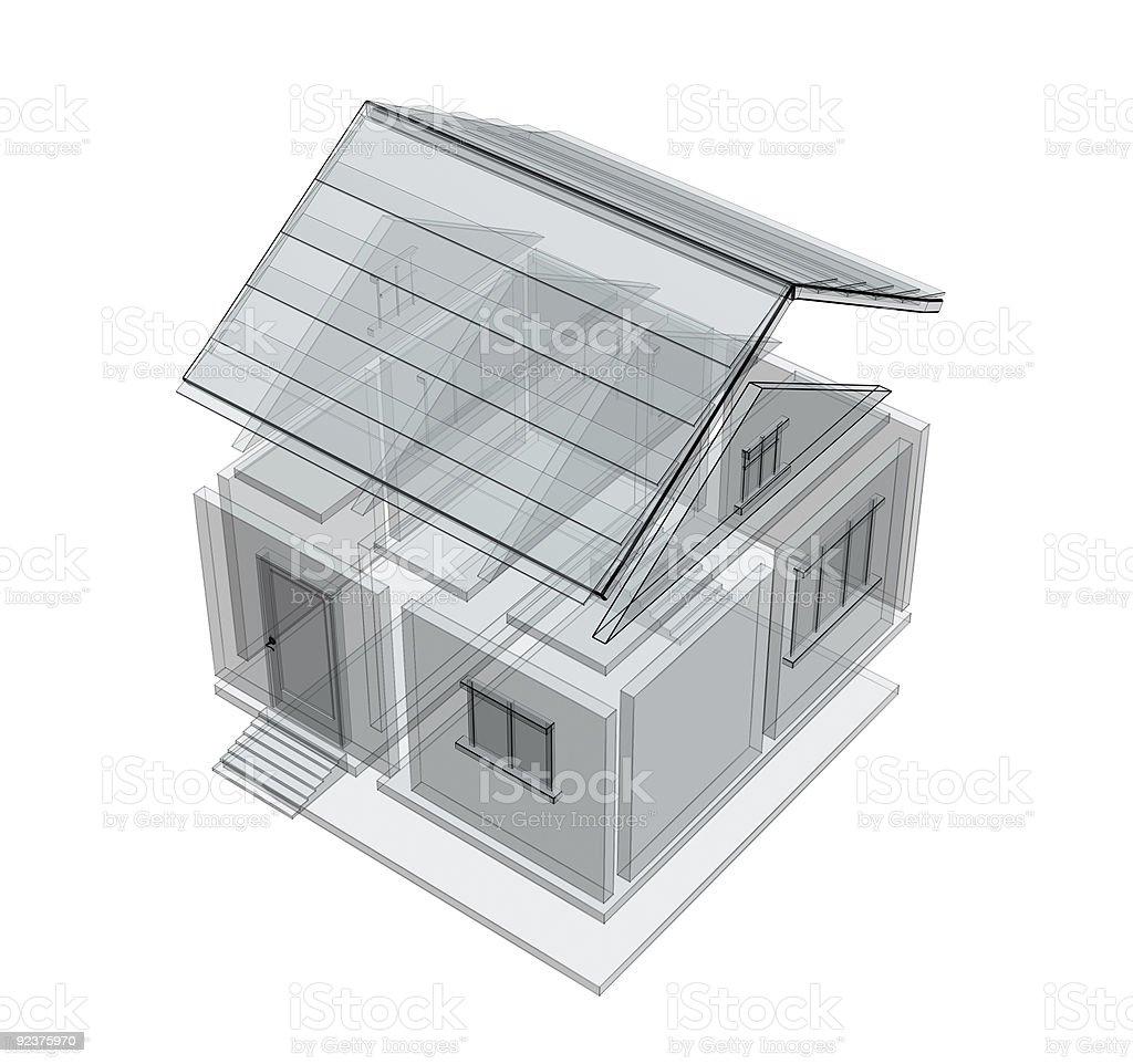 3 d Skizze eines Hauses Lizenzfreies stock-foto