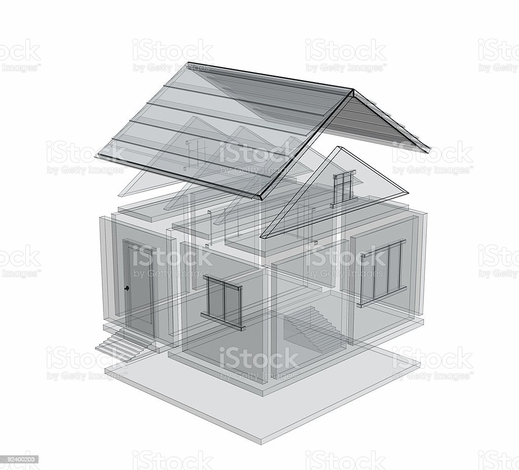 3d sketch of a house royalty-free stock photo