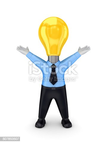 637573406 istock photo 3d smal person with a lamp  instead the head. 507853507