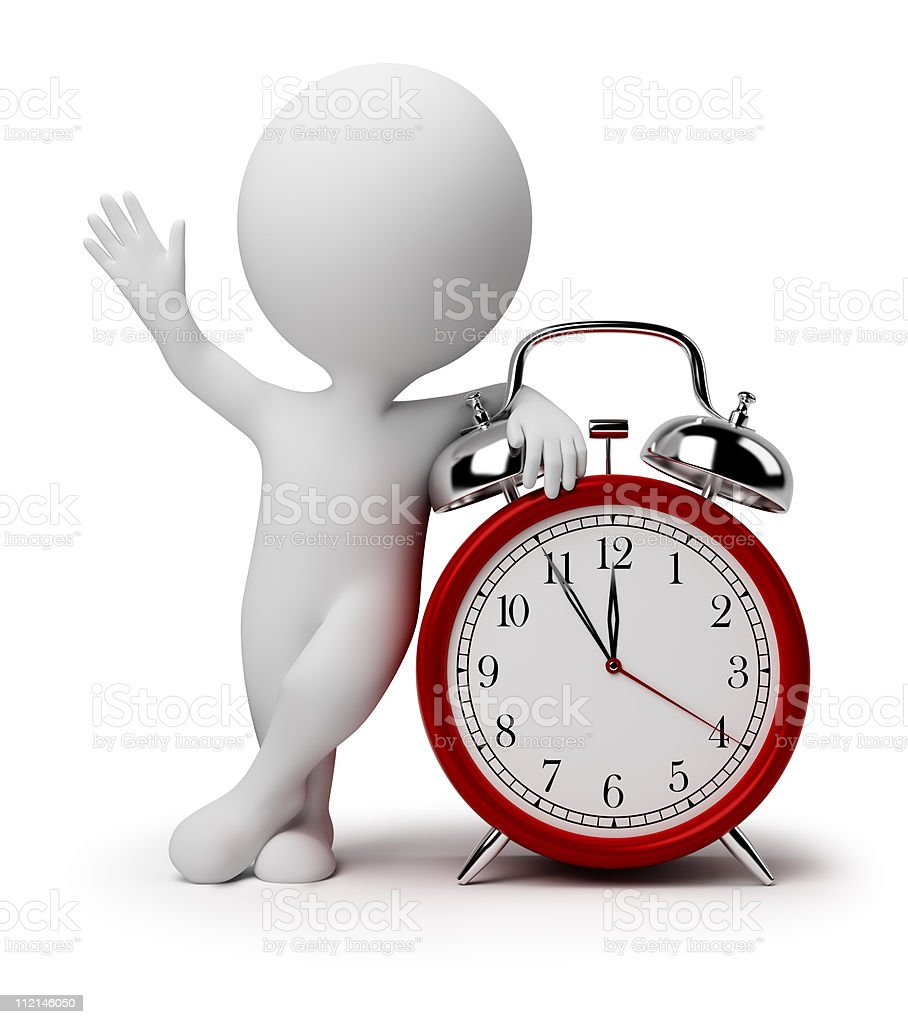 3d small people - alarm clock royalty-free stock photo