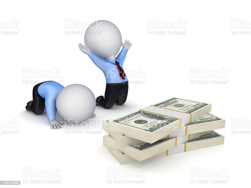 3d small people and dollar packs. stock photo
