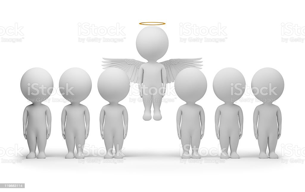 3d small people - angel royalty-free stock photo