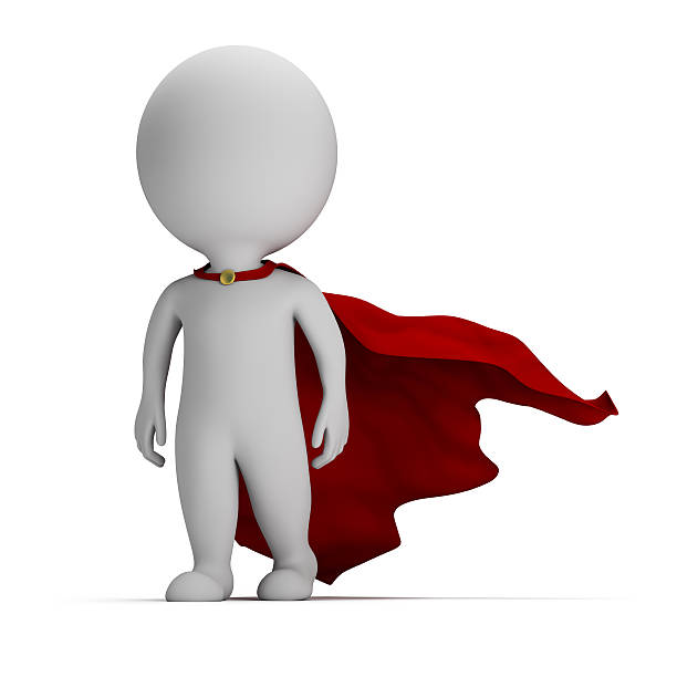 3d small people - brave superhero stock photo