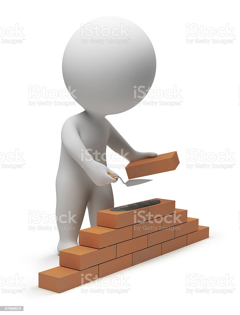 3d small people - builder royalty-free stock photo