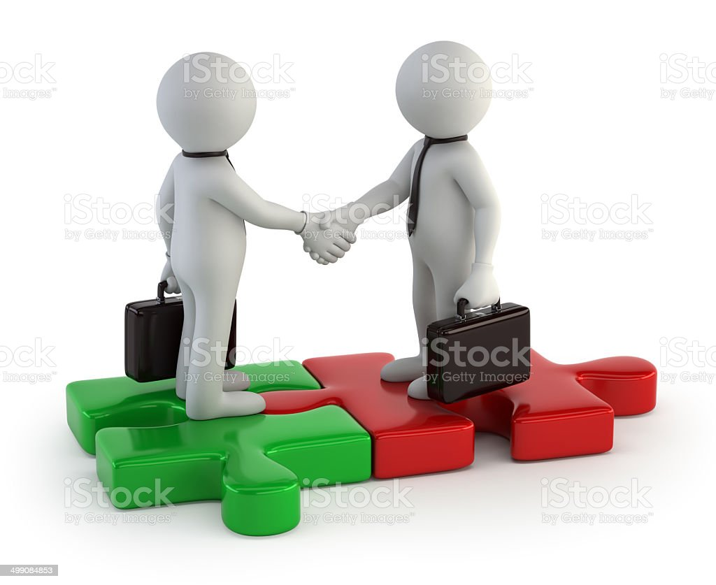 3d small people - Business greeting stock photo